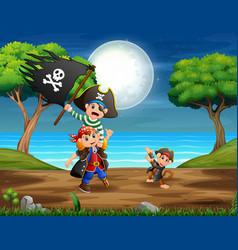 Pirates in jungle vector