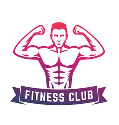 Posing athlete fitness club logo emblem vector