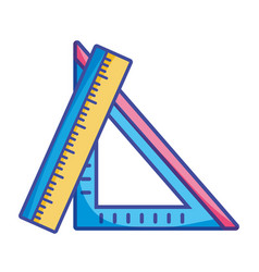 Rulers school utensils to education and learn vector