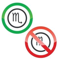 Scorpio permission signs vector image