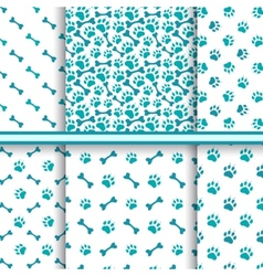 Seamless cat animal patterns of paw footprint vector image