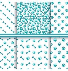 Seamless cat animal patterns paw footprint vector