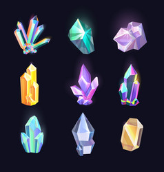 set of isolated diamonds crystal quartz icons vector image