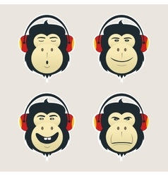 Set of monkey heads with headphones DJ monkey vector image