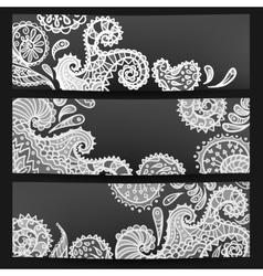 Set of three black-white banners vector