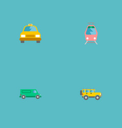 set of transport icons flat style symbols with van vector image