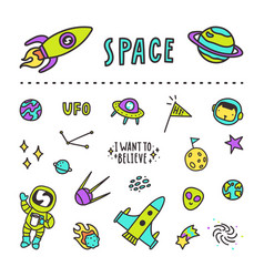 set space stickers vector image