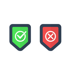 shields and check marks icons set red and green vector image