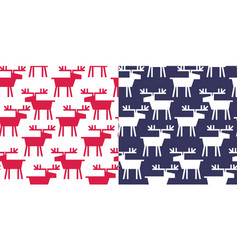 simple xmas seamless pattern with deer f vector image