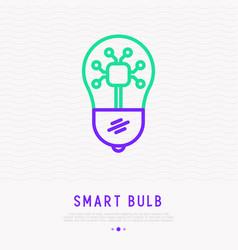 smart bulb thin line icon vector image