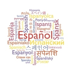 Spanish language word collage vector