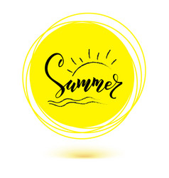 Summer hand lettering of text on yellow sun icon vector