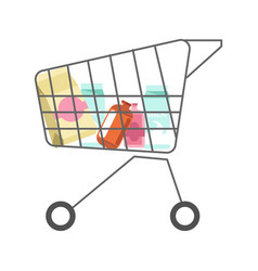 supermarket cart with dairy products minimalistic vector image