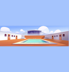 swimming pool on cruise liner empty ship deck vector image