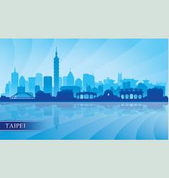 taipei city skyline silhouette background vector image