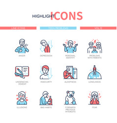 Teen problems - line design style icons set vector