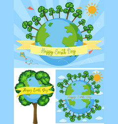 three happy earth day poster designs vector image