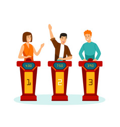 three participants of tv quizshow answering vector image
