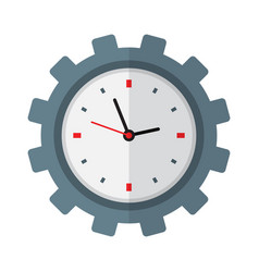 time management icon clock inside gear vector image