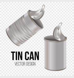 Tin can canned food realistic package vector