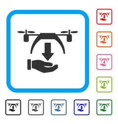 unload drone framed icon vector image