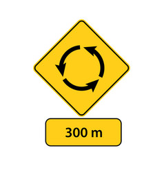 Usa traffic road signsroundabout is 300 meters vector