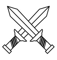 Warrior swords isolated icon vector