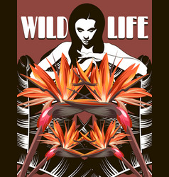 wild life hand drawn placard with pretty woman vector image