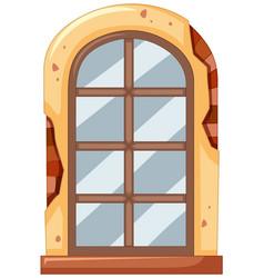 Window on brick wall vector