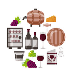 Wine bottle cup barrel cooler bucket collection vector