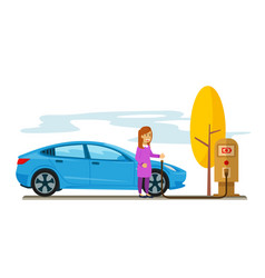 woman charging her electric car in the parking lot vector image