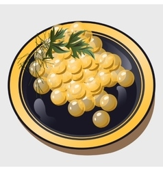 a grape on plate vector image vector image
