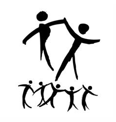 Dancing people hand drawn vector