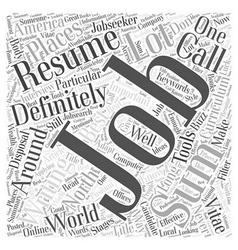 Effective Resume Writing Word Cloud Concept vector image vector image
