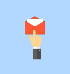 Hand presses the envelope icon vector