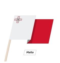 Malta Ribbon Waving Flag Isolated on White vector image
