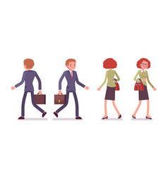 set of male and female office workers walking vector image