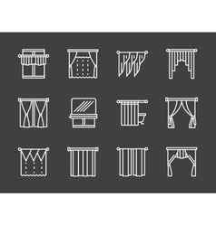 Textile blinds simple white line icons vector