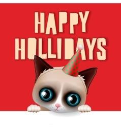 Happy holidays card with fun grumpy cat vector image