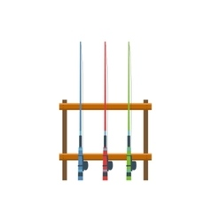 Three Fishing Rods On Stand vector image vector image