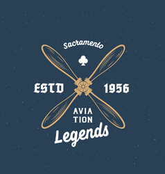 aviation legends airplane retro label sign vector image vector image