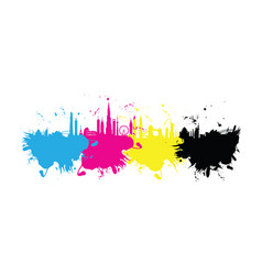 cmyk building cityscape background splash vector image vector image