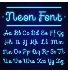 Glowing neon calligraphic letters on dark vector image vector image