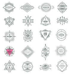 set of hipster line signs and emblems vector image