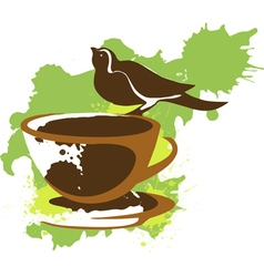 bird that sits on a cup of coffee vector image vector image