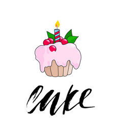 birthday cupcake with burning candle pink berry vector image