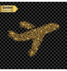 Gold glitter icon of airplane isolated on vector image