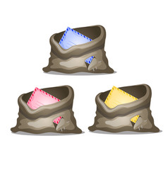 A set of holey canvas bags with colored envelopes vector