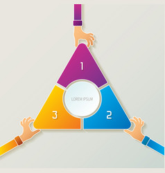 Abstract 3 steps infographic template in 3d style vector
