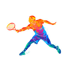 abstract tennis player with a racket from splash vector image